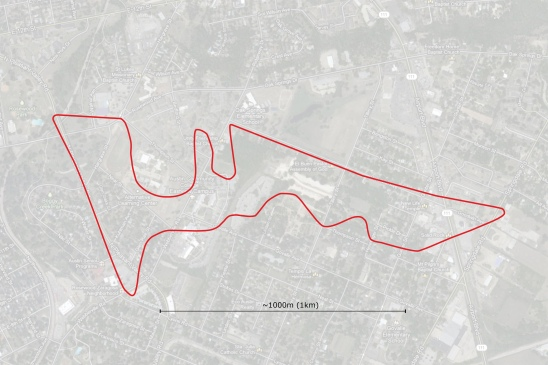 The COTA track overlaid onto the street grid of East Austin provided the orientation map for the Pole Position walk.