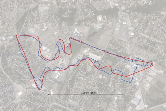 The COTA track (red) and our GPS trace (blue) overlaid onto a satellite image of East Austin.